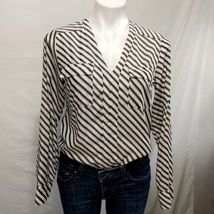 Express black and white striped shirt sz S